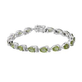 12.75 Ct Hebei Peridot Tennis Bracelet in Sterling Silver 13.80 Grams Size 7.5 Inch