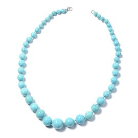 425 Carat Blue Howlite Beaded Necklace in Silver Tone 22.5 Inch