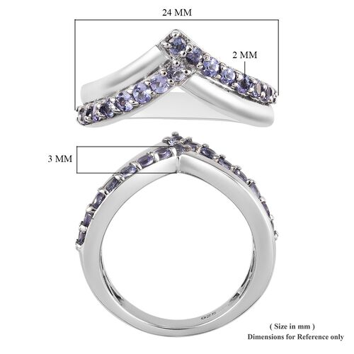 AA Tanzanite (Rnd) Wishbone Ring in Platinum Overlay Sterling Silver 0.750 Ct.