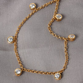 J Francis 14K Gold Overlay Sterling Silver Station Necklace (Size 18) Made with SWAROVSKI ZIRCONIA, Silver wt. 7.80 Gms