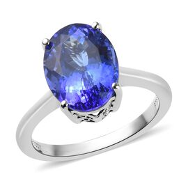 RHAPSODY 950 Platinum AAAA Tanzanite (Ovl) Solitaire Ring 5.25 Ct, Platinum wt 5.15 Gms
