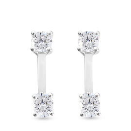 Set of 2 - J Francis Sterling Silver Earrings Made with SWAROVSKI ZIRCONIA 1.44 Ct.