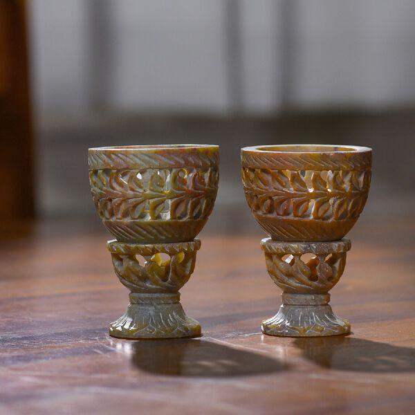 Nakkashi Set of 2 decorative hand carved soapstone egg holders (7.5X3.5 CM) -  IVORY/GREY