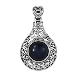 Artisan Crafted Blue Sapphire (Rnd) Pendant in Sterling Silver 5.500  Ct.