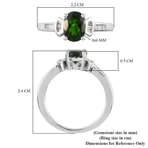 Russian Diopside and Diamond Ring in Platinum Overlay Sterling Silver 1.25 Ct.