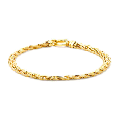 9K Yellow Gold Textured Spiga Bracelet (Size 7.5) with Senorita Clasp, Gold wt 7.10 Gms