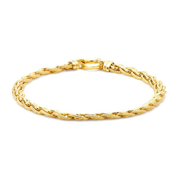 9K Yellow Gold Textured Spiga Bracelet (Size 7.5) with Senorita Clasp, Gold wt 7.10 Gms