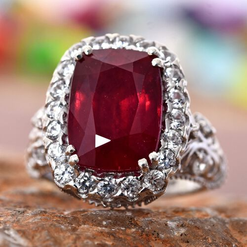Designer Inspired - AAA African Ruby (Cush 8.00 Ct), Natural Cambodian Zircon Ring in Platinum Overlay Sterling Silver 9.500 Ct. Silver wt 5.80 Gms.