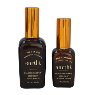 Shungite Enriched Earthi Jasmine and Mogra Bath & Body Shower Gel with Complementary Almond and Saff