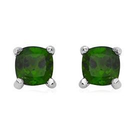 Russian Diopside (Cush) Stud Earrings (with Push Back) in Rhodium Overlay Sterling Silver 1.26 Ct.