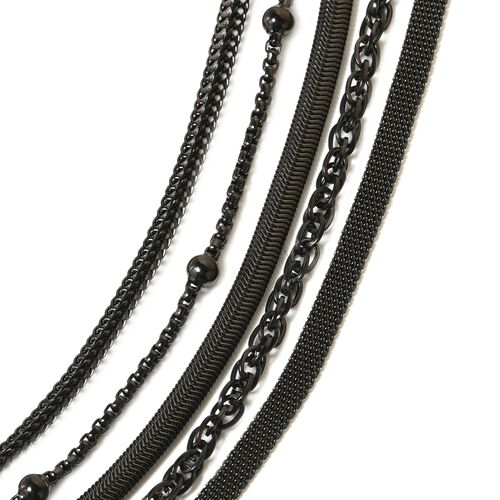 5 Piece Set- Black Plating Stainless Steel Bismark, Foxtail, Snake, Singapore and Ball Station 5 String Chain Necklace (Size 20) in Black Plating