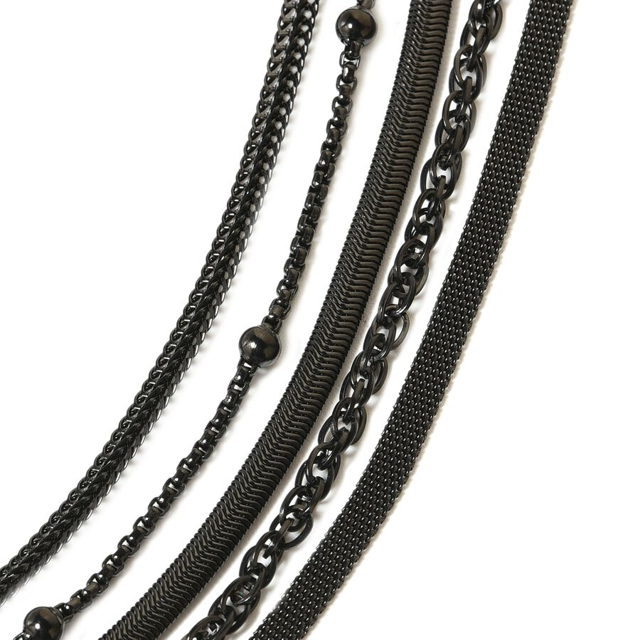 5 Piece Set- Black Plating Stainless Steel Bismark, Foxtail, Snake,  Singapore and Ball Station 5 String Chain Necklace (Size 20) - 3178188 - TJC