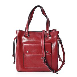 100% Genuine Leather Tote Bag with Removable Shoulder Strap (Size 26x10x26 Cm) - Burgundy