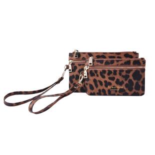 Set of 2 - 100% Genuine Leather Brown and Black Leopard Pattern RFID Clutch Wallet (18x10cm, 15x9cm)