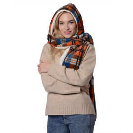 Ultra Soft Plaid Hooded Circle Scarf (Size 17x200cm) - Orange and Blue
