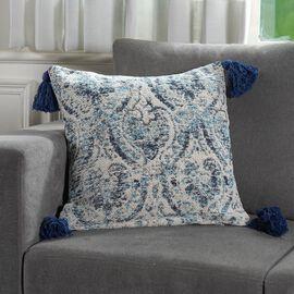 JACQUARD WOVEN Cushion Cover (Size 45X45 Cm) - Blue & Cream