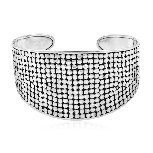 Wide Cuff Bangle in Sterling Silver 34.93 Grams 7.5 Inch