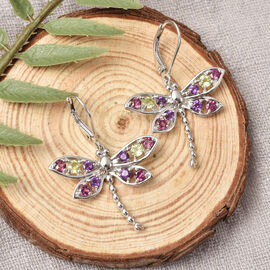 LucyQ Dragonfly Collection - Natural Hebei Peridot, Rhodolite Garnet & Amethyst Earrings (with Lever Back) in Rhodium Overlay Sterling Silver 1.74 Ct.