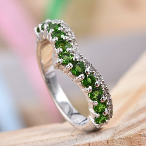 Russian Diopside (Rnd), Natural Cambodian Zircon Wishbone Ring in Platinum Overlay Sterling Silver 1.00 Ct.