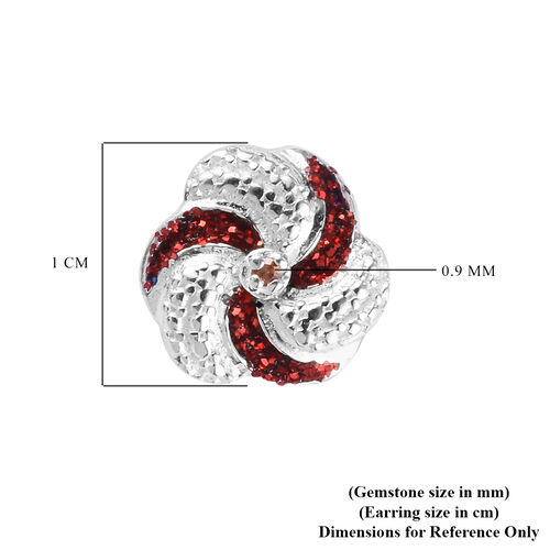 Red Diamond Swirl Design Stud Earrings (with Push Back) in Sterling Silver