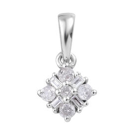 9K White Gold SGL Certified Diamond (Bgt and Rnd) (I3/G-H) Pendant 0.20 Ct.