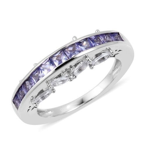 Tanzanite (Princess Cut), White Topaz Ring in Rhodium Plated Sterling Silver 1.810 Ct.