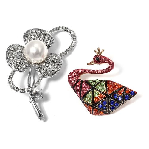 Set of 2 White Austrian Crystal, Simulated Pearl and Multi Colour Crystal Poppy and Swan Design Enameled Brooch in Silver and Yellow Bond