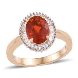 ILIANA 18K Yellow Gold AAAA Jalisco Fire Opal (Ovl), Diamond (SI/G-H) Ring 1.35 Ct.