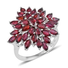 5.75 Ct Arizona Anthill Garnet Cluster Ring in Platinum Plated Silver