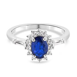 Tanzanian Blue Spinel and Natural Cambodian Zircon Ring in Platinum Overlay Sterling Silver 1.75 Ct.