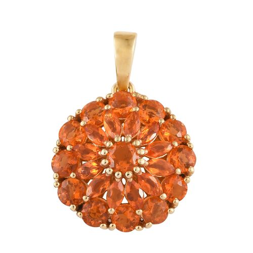 WEBEX- Jalisco Fire Opal (Mrq) Cluster Pendant in 14K Gold Overlay Sterling Silver 2.250  Ct.