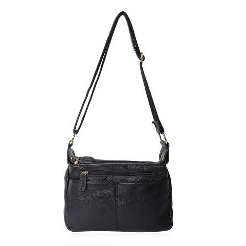 100% Genuine Leather Crossbody Bag with Multiple Pockets and Zipper Closure (Size 28x9x19 Cm) - Blac