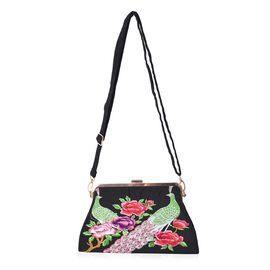 Embroidered Flower and Peacock Pattern Clutch Bag with Detachable and Adjustable Shoulder Strap (Siz
