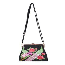 Embroidered Peacock Pattern Clutch Bag with Detachable and Adjustable Shoulder Strap (Size 26.5x14x5