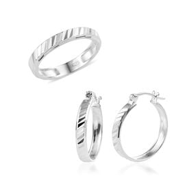 One Time Deal- 2 Piece Set - Sterling Silver Diamond Cut Band Ring and Hoop Earrings (with Clasp), S