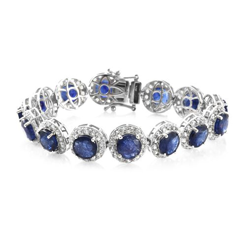Duchess Inspired - Rare Size Masoala Sapphire (Rnd), Natural Cambodian Zircon Bracelet (Size 7.25) in Platinum Overlay Sterling Silver 47.000 Ct. Silver wt. 19.00 Gms.Stone Studded 210 Pcs