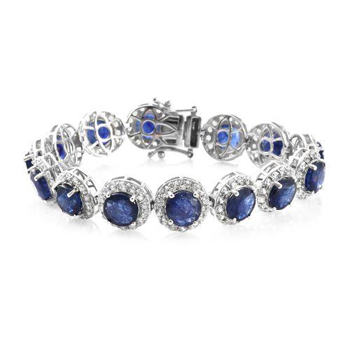 Duchess Inspired - Rare Size Masoala Sapphire (Rnd), Natural Cambodian Zircon Bracelet (Size 7.25) i