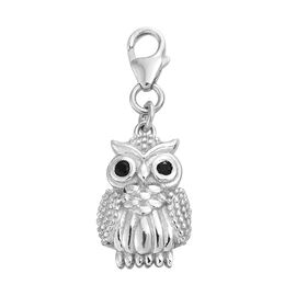 0.10 Ct Boi Ploi Black Spinel Owl Charm in Platinum Plated 925S Silver