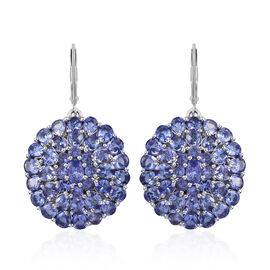 10.75 Ct Tanzanite Cluster Earrings in Platinum Plated Sterling Silver 9.45 Grams With Lever Back