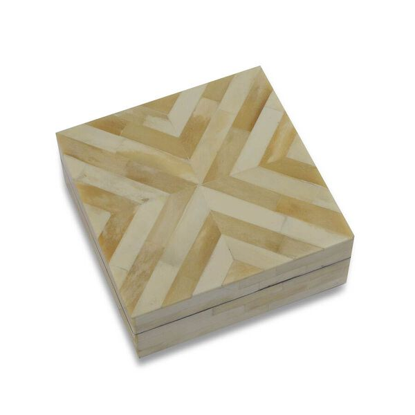 Chevron Pattern Handmade Bone and MDF Storage Box with Inside Velvet Lining (Size 15.5x15.5x6 Cm) - Ivory