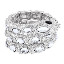 Simulated Black Spinel and Simulated White Diamond Snake Bracelet (Size - 7) in Silver Tone