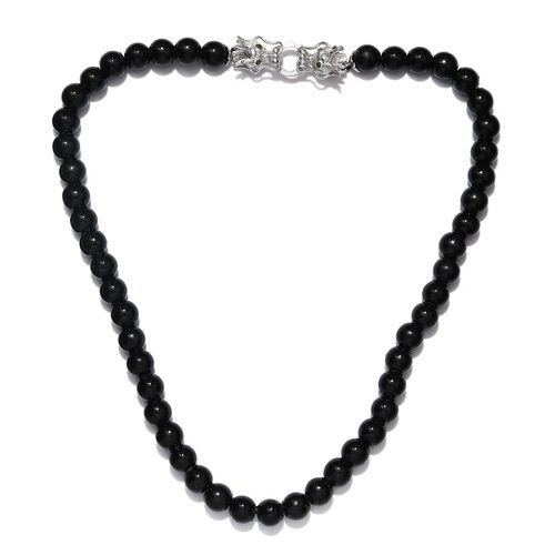 Shungite (Rnd 10mm), Russian Diopside Dragon Head Beads Necklace (Size 20) in Platinum Overlay Sterl