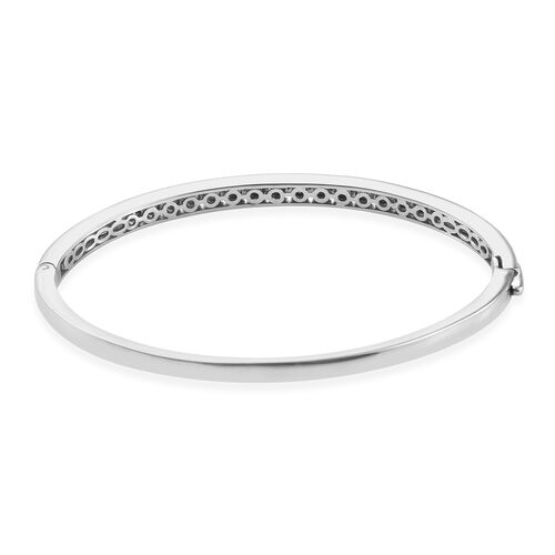 Diamond (Rnd) Bangle (Size 7.5) in Platinum Overlay Sterling Silver 0.250 Ct, Silver wt 15.06 Gms.