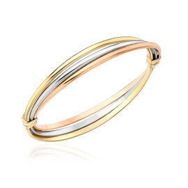 Italian Made 9K Yellow, Rose, White Gold Bangle (Size 6.5), Gold wt 6.94 Gms.