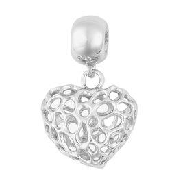 RACHEL GALLEY Rhodium Plated Sterling Silver Lattice Heart Charm Pendant