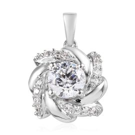 J Francis Made with SWAROVSKI ZIRCONIA Floral Pendant in Platinum Plated Silver