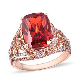 Simulated Orange Sapphire (Cush), Simulated Pink Sapphire and Simulated White Diamond Ring (Size T) in Silver