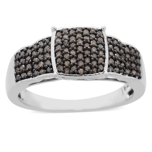 Natural Champagne Diamond (Rnd) Ring in Black Rhodium and Platinum Overlay Sterling Silver 0.500 Ct.