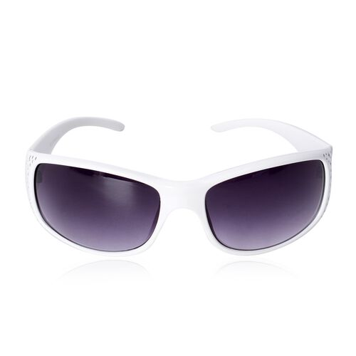 Shiny Ivory Frame Sunglasses with Bling Crystals and UV Protection Lenses Including Hard Plastic Bla