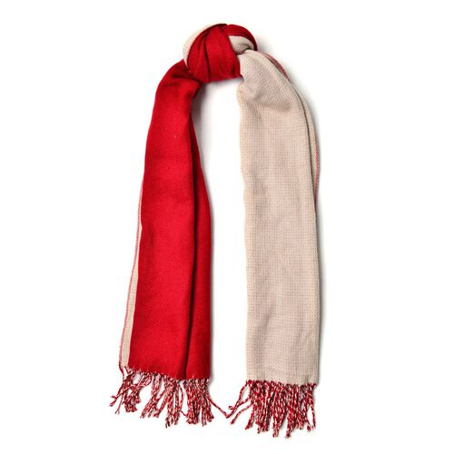 Red and Khaki Colour Reversible Scarf with Tassels (Size 180x63 Cm)